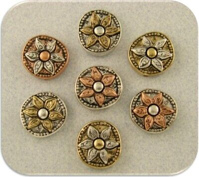 Flower Beads Silver Gold Copper Metal 2 Hole Sliders Bracelet Magnet Charm QTY 7 Antique Gold Metal Bead