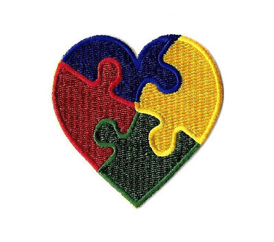 Autism Awareness Heart   Aspergers Syndrome   April   Embroidered Iron On Patch