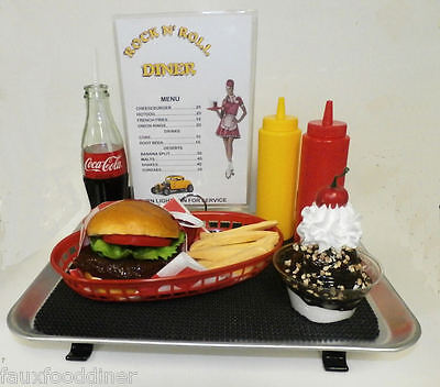 FAKE FOOD DINER CAR HOPCHEESEBURGER FRIES W// 50/'S RED /& WHITE COKE CUP