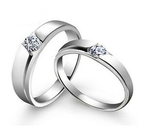 Simple Silver Wedding Rings For Women Sz4-11-S925-Silver-Cou...