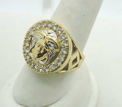 Mens 10k Gold Versace Style Medusa Face Cubic Zirconia Ring 6.4 Grams size 10.5