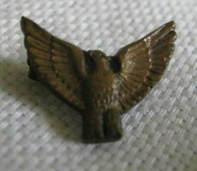 Vintage 1930s-40s Bronze EAGLE PIN 13mm Wings Up & Out, Military? BSA? Detailed