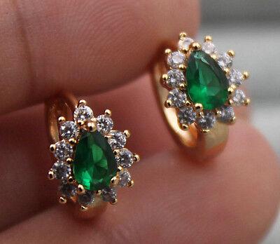 (18K Yellow Gold Filled - Flower Waterdrop Emerald Topaz Zircon Party Earrings)