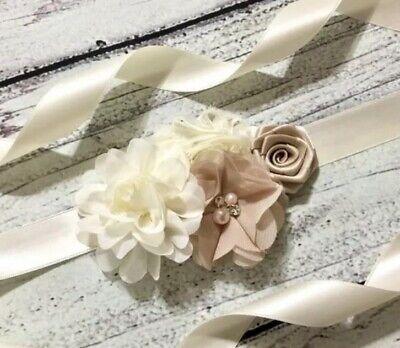 Ivory Champagne Flower Girl Sash Belt ,Floral Sash ,Bridesmaid Sash