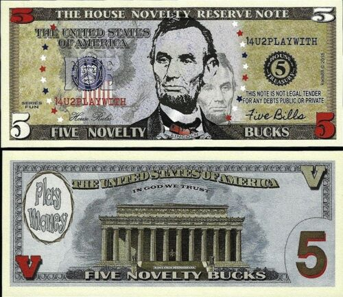 $5 Five Dollar Bill Fake Play Funny Money House Novelty Reserve Note FREE SLEEVE