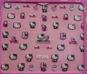 3D Hello Kitty Nail Art Stickers glitter Flower Butterfly Heart Party Tattoo
