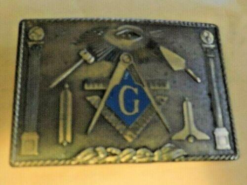 Brass Freemasonry Belt Buckle (Marked Klitzner)