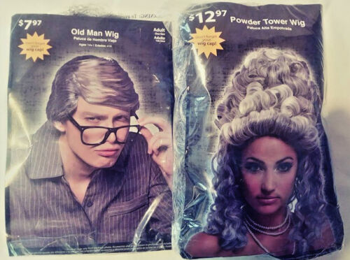 POWDER TOWER WIG & OLD MAN WIG ADULT ONE SIZE HALLOWEEN DRESS UP FREE SHIPPING