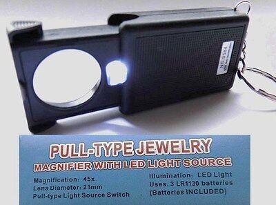 Lupe mit LED Licht aufschiebbar 45- fach Vergrößerung Schlüsselanhänger Juwelier online kaufen