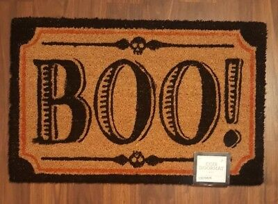 Halloween Boo Coir Doormat Door Mat Welcome Entry Black Outdoor Skulls 18 X 28  - Halloween Welcome Mat