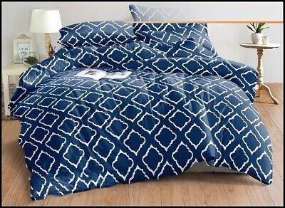 Rauten blau Bettwäsche weiß 160 x 200 cm 3-teilig Satin-Baumwolle #1260