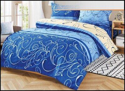 Bettwäsche blau-weiße Formen Bettgarnitur Bettbezug 160x200 cm 3-teilig #5462