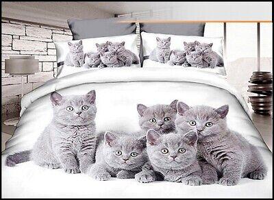 Katzen grau Bettwäsche Bettbezug Satin-Baumwolle 140 x 200 cm 2-teilig #102