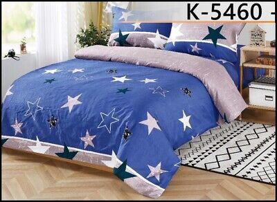 Sterne Bettwäsche blau rosa weiß schwarz 160 x 200 cm 3-teilig #5460