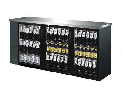 73 Black Triple Glass Door Commercial Back Bar Beer Bottle Refrigerator Cooler