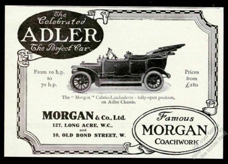 1912 Adler chassis Morgan Cabrio Landaulette car photo vintage print ad