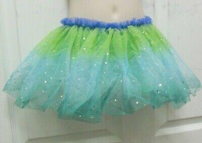 ballet ballerina dance skirt 3 layers tulle tutu hologram dot greens small child