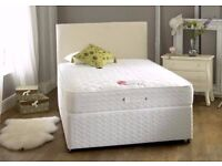 BRAND NEW DOUBLE/KING SIZE DIVAN BED BASE WITH SEMI ORTHOPEDIC MATTRESS