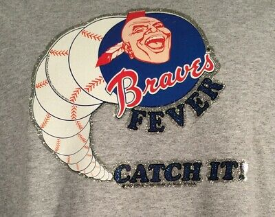 T-Shirt with Atlanta Braves Vintage Transfer Fever CATCH IT MLB Baseball NEW ()