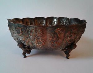 Victorian Shabby Chic Silver Wash Plated Cherub Footed Bowl