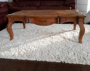 Rustic wooden coffee table.