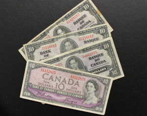 4 Canadian $10 Bank Notes (Group)