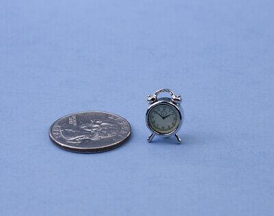 Fabulous Dollhouse Miniature Silver Alarm Clock, very detailed! 1:12 - Detailed Miniature