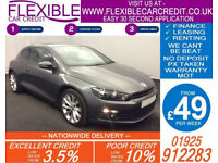 2013 VW SCIROCCO 2.0 GT TDI BMT GOOD / BAD CREDIT CAR FINANCE FROM 49 P/WK
