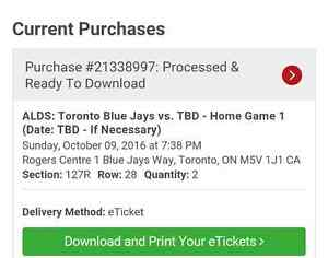 2 tickets to Texas Rangers @ Toronto Blue jays game 3 postseaso