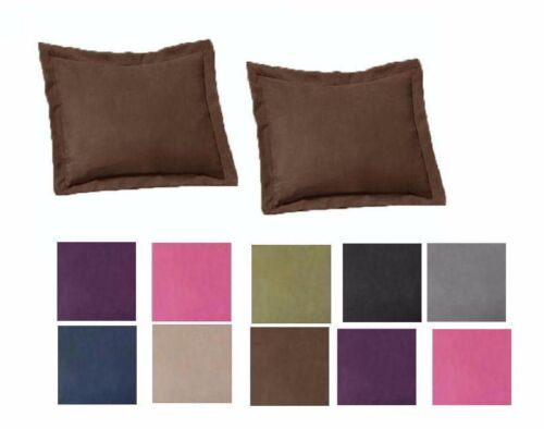 2 Piece Shams Solid Cover Case Micro Suede Decorative Pillow Brown Black Bedding