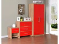 Bedroom Set in Light Oak Veneer/Red High Gloss. Already Built And Can Deliver