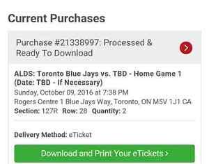 2 tickets to Texas Rangers @ Toronto Blue jays game 3 postseaso