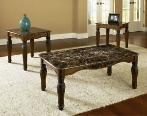 faux-marble top coffee table set
