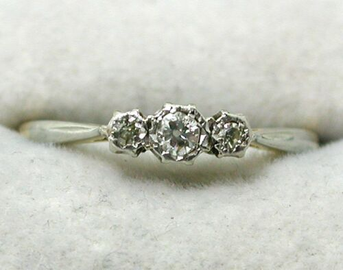Antique 18 carat Gold And Platinum Three Stone Diamond Ring Size O.1/2