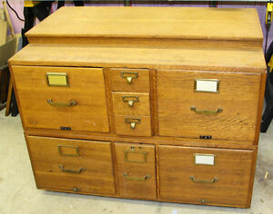 Sectional Oak Filing Cabinet-unusual unit