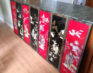 Japanese Enameled Wall Panels and Mother of Pearl Inlaid Panels