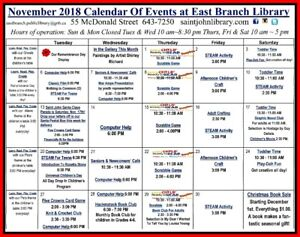 East Branch Public Library - November Calendar