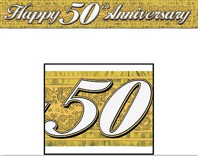 Metallic Happy 50th Anniversary Fringe Banner (5 Ft) - 50888-GD