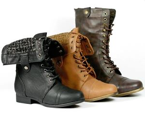 Fold-down-Mid-Calf-Lace-Up-Military-Combat-Boots-Rice-60-Black-Brown ...