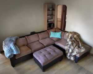 Over-sized microfiber sectional and matching ottoman