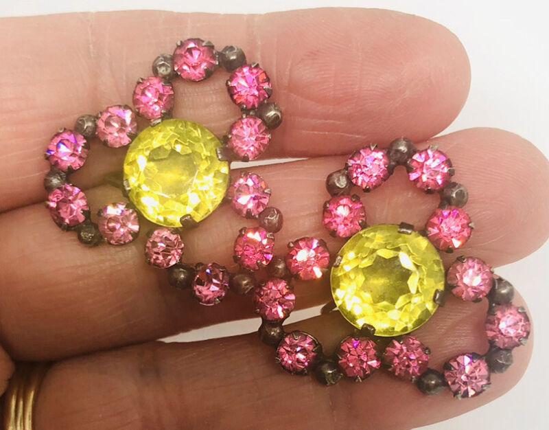 """Huge RARE Sterling Silver Uranium Vaseline Glass Earrings 1 1/8"""" Vintage Jewelry"""