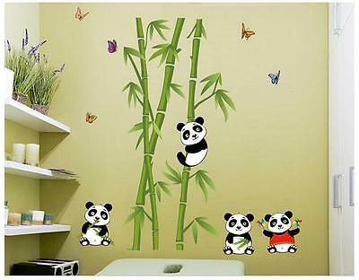 Lovely Panda Bamboo Pattern Removable Wall Stickers Decal Kids Home Decor USA