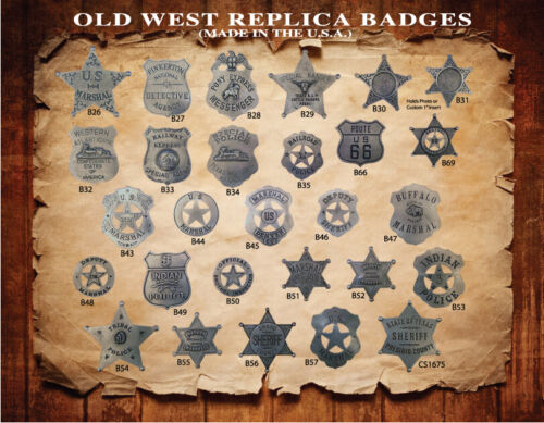 6 PCS. Collectible OLD WEST WESTERN BADGES,STAR,VINTAGE,
