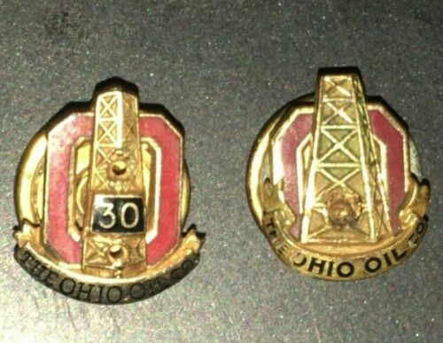 2 Vintage 10k, 30 Year Service Pin with The Ohio Oil Company, Tie Pins lot
