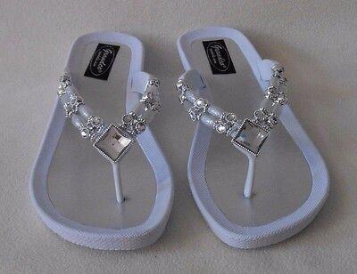 WHITE GRANDCO SANDALS Silver Bling GEMSTONES BEADS Beach Pool DRESSY Flip Flops - Dressy Flip Flops