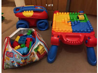 Mega blocks first builders table, trailer, bag of bricks