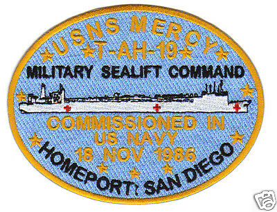 Military Sealift Command Ships - MILITARY SEALIFT COMMAND PATCH, USNS MERCY, T-AH-19, HOSPITAL SHIP, SAN DIEGO  Y