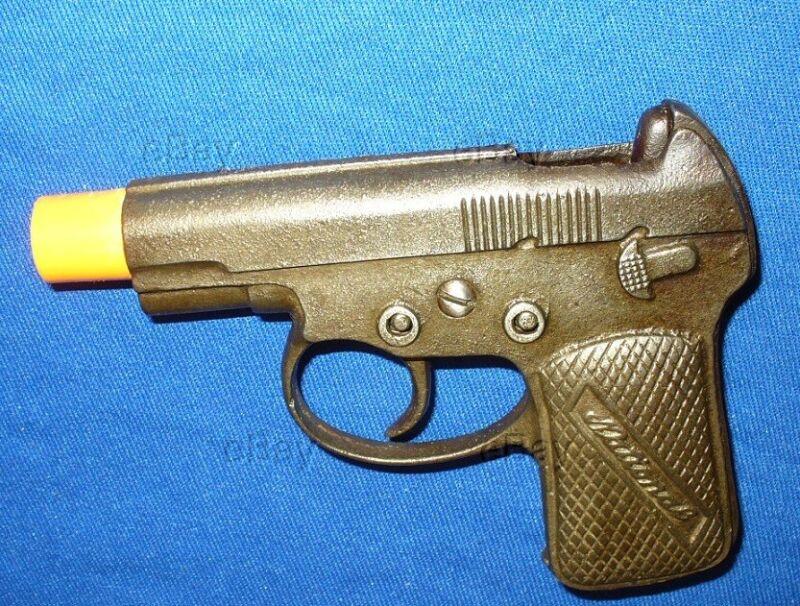 ESTATE VINTAGE NATIONAL CAST IRON CAPGUN PISTOL AUTO CAP GUN TOY ANTIQUE USA OLD