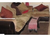corner sofa w/ rich brown leather & luxury feather cushions -excellent condition