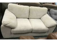 White cord fabric 2 seater sofa